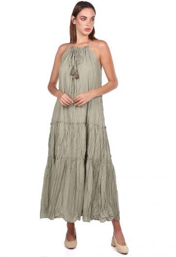 Sleeveless Open Khaki Straight Dress - Thumbnail