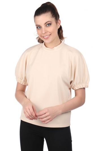 Gathered Sleeve Blouse-Cream - Thumbnail
