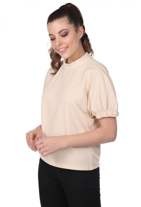 Gathered Sleeve Blouse-Cream