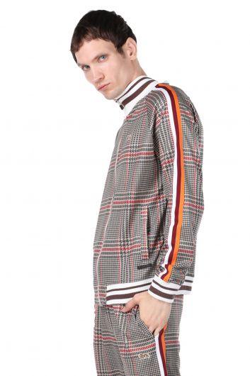 LONSDALE - Клетчатый мужской свитшот на молнии с полосатыми рукавами (1)