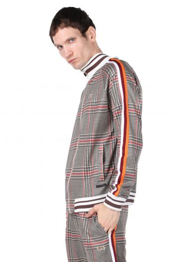 LONSDALE - Checkered Zippered Men's Sweatshirt with Striped Sleeves (1)