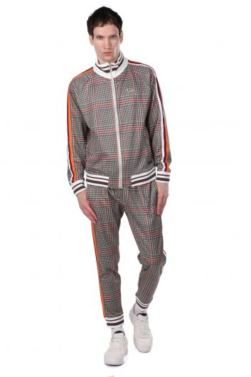 Checkered Zippered Men's Sweatshirt with Striped Sleeves - Thumbnail