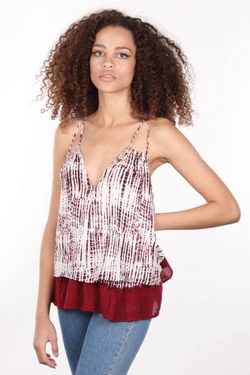 MARKAPIA WOMAN - Свободная женская блузка с тонким двойным ремешком и v-образным вырезом (1)