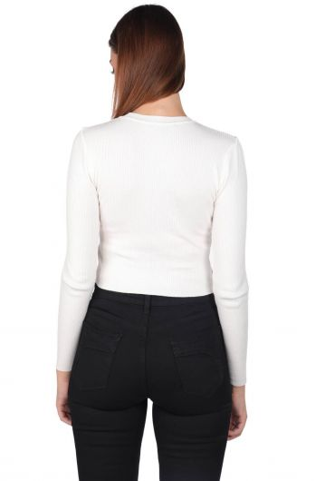 Ecru Slim Fit Crop Crew Neck Knitwear Women Sweater - Thumbnail