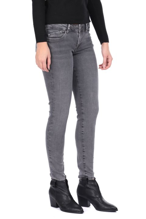Slim Fit Gri Kadın Jean Pantolon
