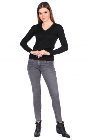 Slim Fit Gri Kadın Jean Pantolon - Thumbnail