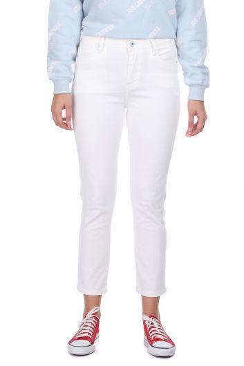 Белые женские джинсовые брюки Slim Fit - Thumbnail