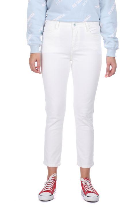Белые женские джинсовые брюки Slim Fit