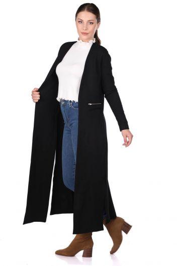 Черный длинный кардиган с разрезом - Thumbnail