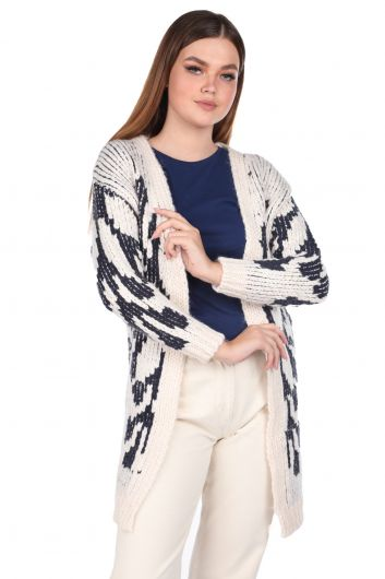 Snowflake Patterned Thick Knit Cardigan - Thumbnail