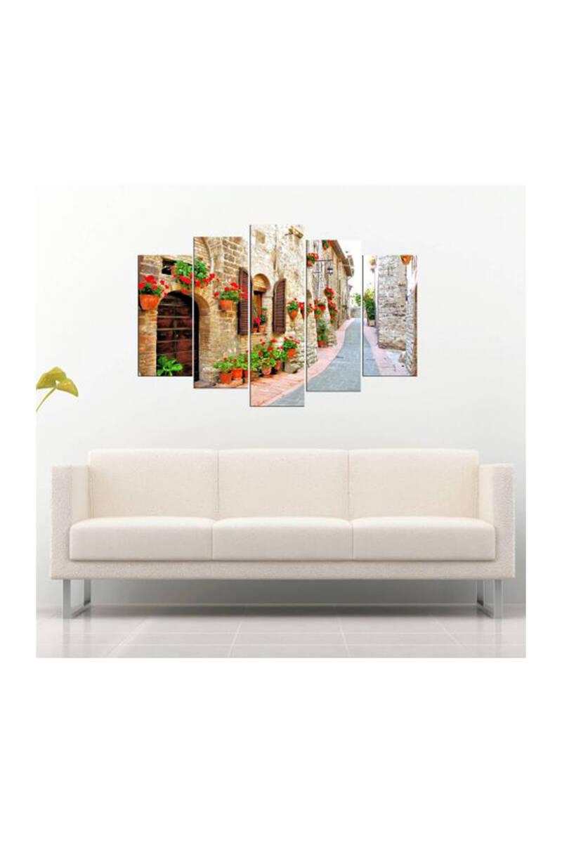 Sokak Manzaralı 5 Parçalı Mdf Tablo-3641