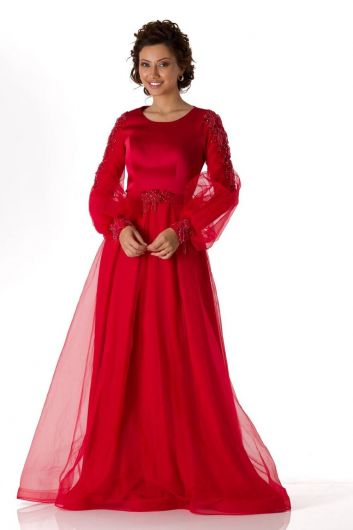 Red Satin Evening Dress With Balloon Sleeves - Thumbnail