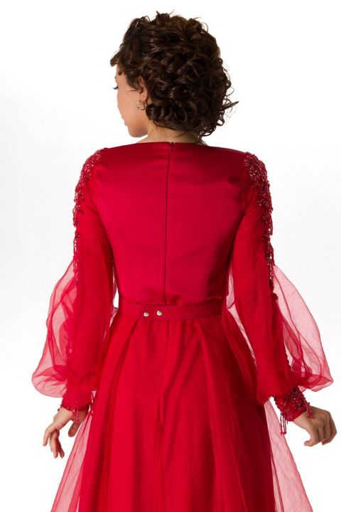 Red Satin Evening Dress With Balloon Sleeves