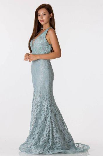 فستان سهرة دانتيل مطرز بظهر السمكة - Thumbnail