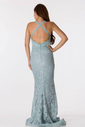 shecca - Кружевное вечернее платье с отделкой на спине (1)