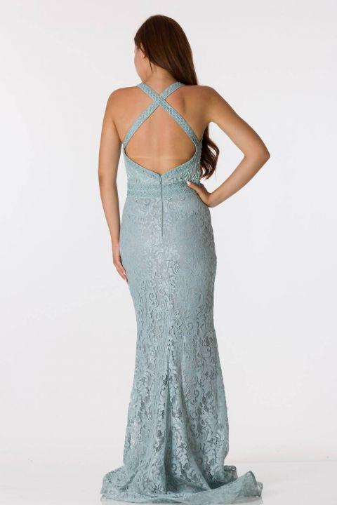 Кружевное вечернее платье с отделкой на спине