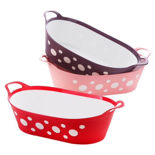 Spotted Oval Bread and Fruit Basket - Thumbnail