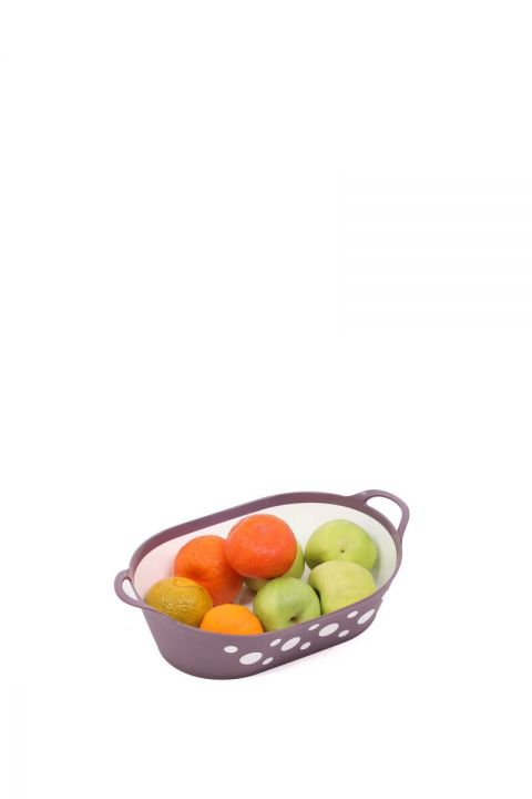 Spotted Oval Bread and Fruit Basket