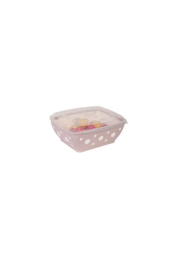 Spotted Rectangular Bowl with Lid 3 LT - Thumbnail