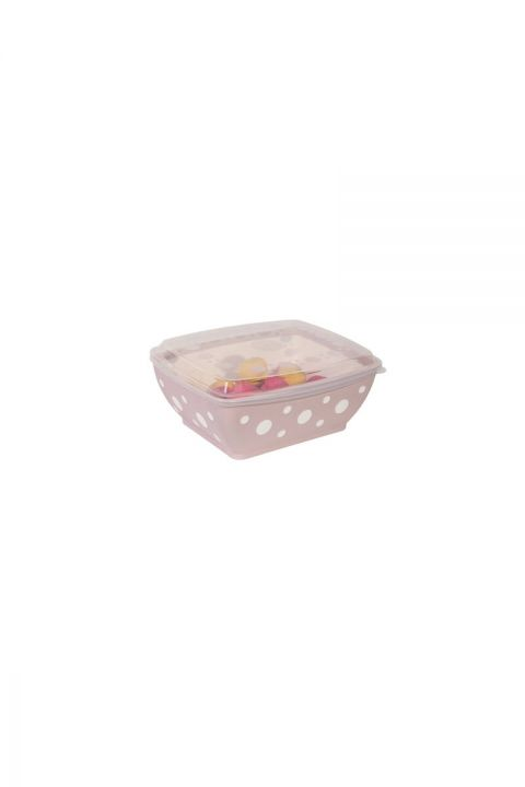 Spotted Rectangular Bowl with Lid 3 LT