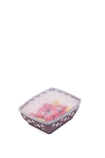 Starry Rectangular Bowl with Lid 3 LT - Thumbnail