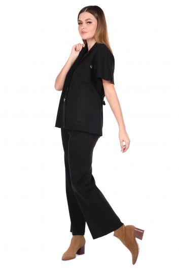 MARKAPIA WOMAN - بلوزة بنطلون أسود محبوك من الصلب بدلة نسائية تريكو (1)