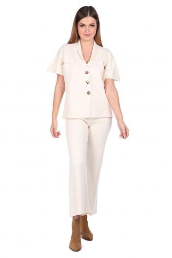 Стальные трикотажные брюки Ecru Блузка Женский трикотажный костюм - Thumbnail
