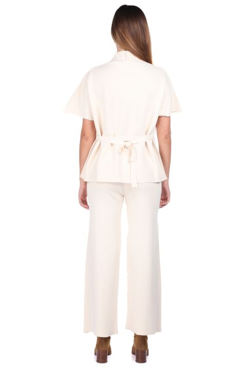 Стальные трикотажные брюки Ecru Блузка Женский трикотажный костюм