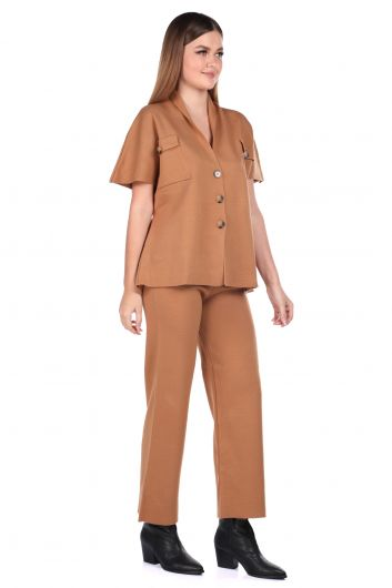 MARKAPIA WOMAN - Steel Knitted Tan Trousers Blouse Women Knitwear Suit (1)