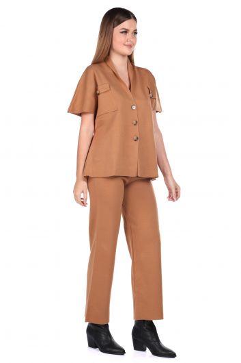 MARKAPIA WOMAN - Стальные трикотажные светло-коричневые брюки, блузка, женский трикотажный костюм (1)