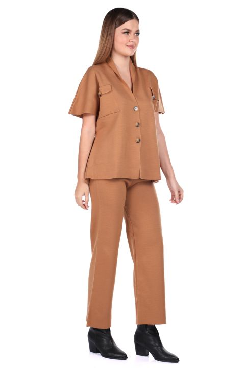 Стальные трикотажные светло-коричневые брюки, блузка, женский трикотажный костюм