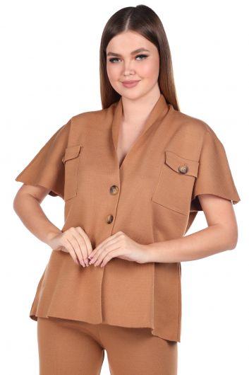 Стальные трикотажные светло-коричневые брюки, блузка, женский трикотажный костюм - Thumbnail