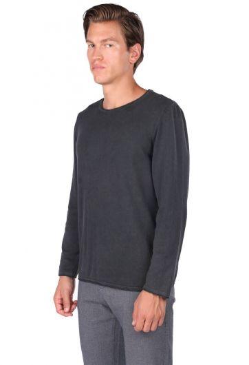MARKAPIA MAN - قميص من النوع الثقيل سادة بياقة مستديرة للرجال (1)
