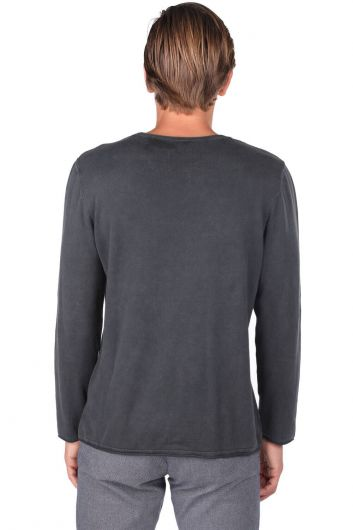 Plain Crew Neck Men's Sweatshirt - Thumbnail
