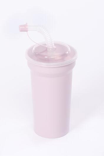Чашка с соломкой с крышкой - Thumbnail