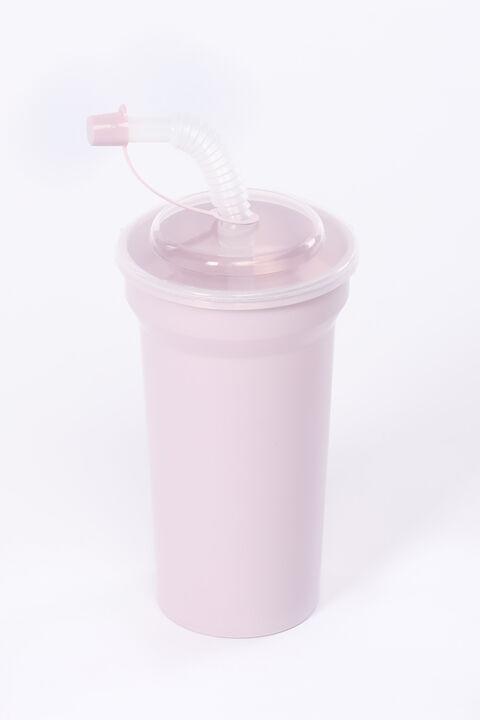 Чашка с соломкой с крышкой