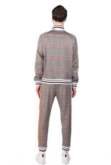 Stripe Detailed Checkered Men's Tracksuit Set - Thumbnail