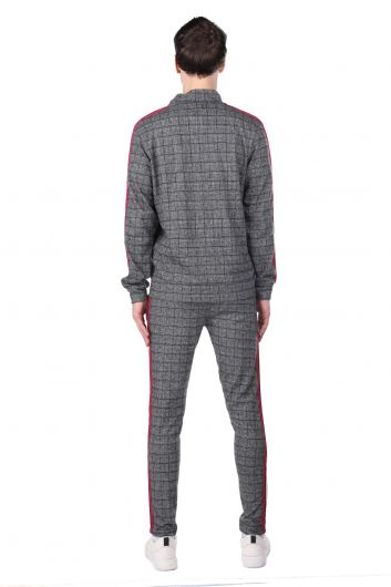 Stripe Detailed Plaid Men's Tracksuit Set - Thumbnail
