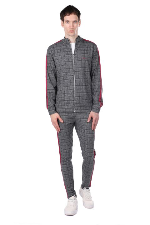 Stripe Detailed Plaid Men's Tracksuit Set