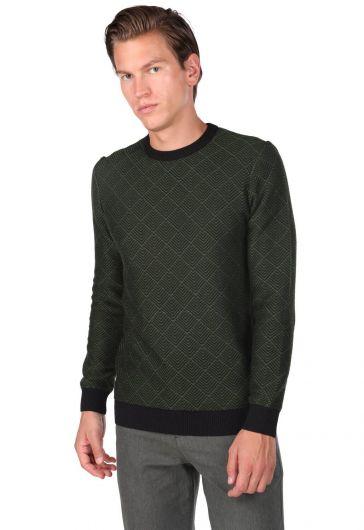 Мужской свитер с круглым вырезом и ромбовидным узором - Thumbnail