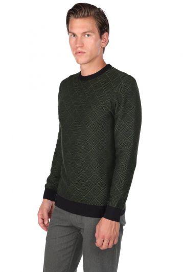 MARKAPIA MAN - Мужской свитер с круглым вырезом и ромбовидным узором (1)