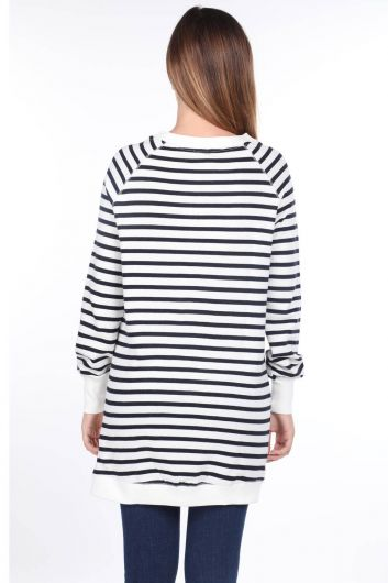 Striped Raglan Sleeve Long Women Sweatshirt - Thumbnail