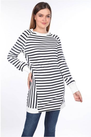 Striped Raglan Sleeve Long Sweatshirt - Thumbnail
