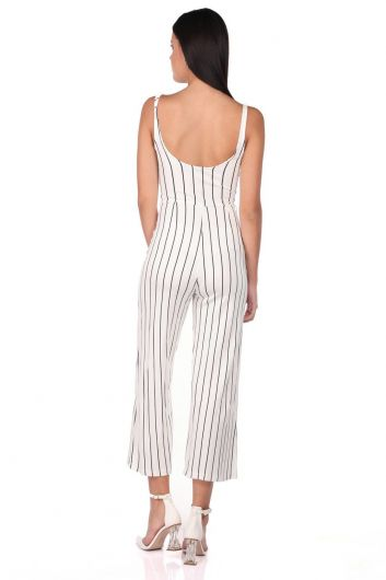 Striped Strappy Overalls Trousers - Thumbnail