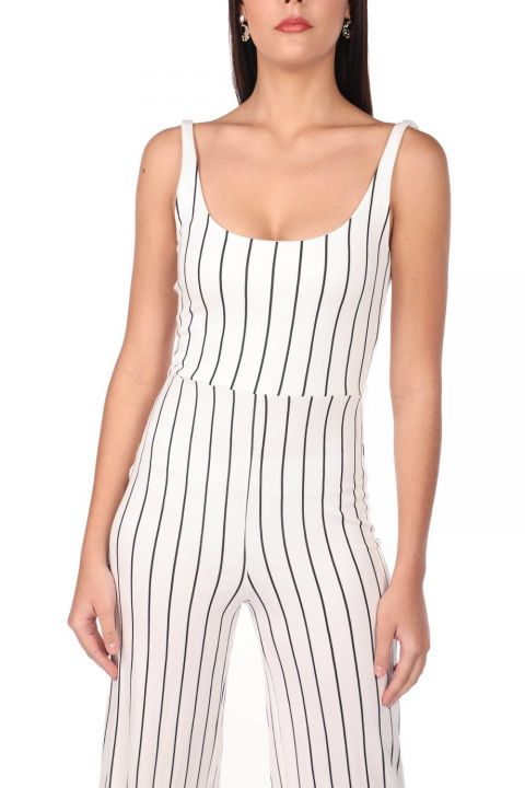 Striped Strappy Overalls Trousers