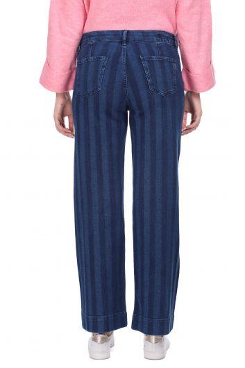 بنطلون جينز مخطط واسع الساق أزرق كحلي للنساء - Thumbnail