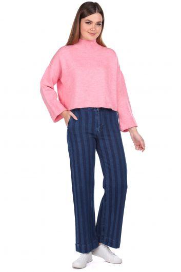 Striped Wide Leg Navy Blue Women Jean Trousers - Thumbnail