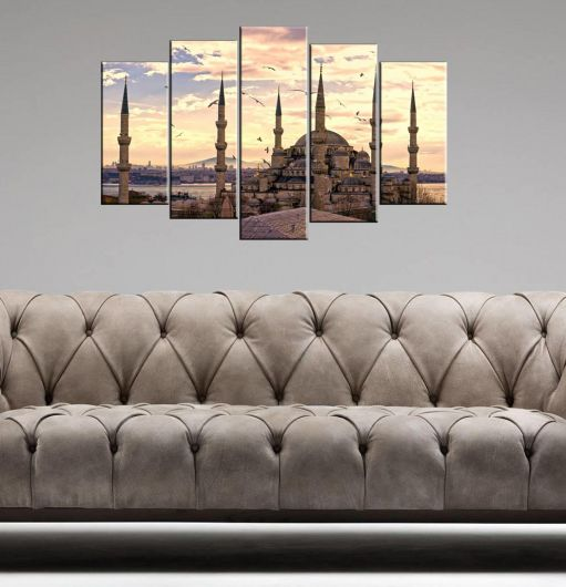 Sunset Mosque View 5 Piece Mdf Painting - Thumbnail