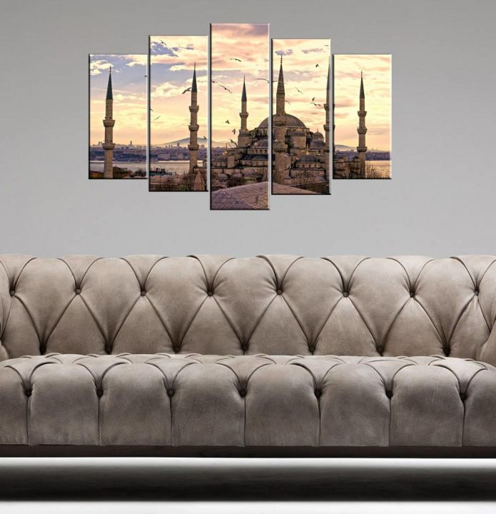 Sunset Mosque View 5 Piece Mdf Painting