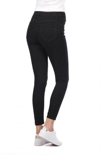 Женские черные джинсовые брюки Super Skinny - Thumbnail